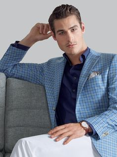 Tallia Men's Pink Plaid Linen Slim Fit Sport Coat | Wedding ...