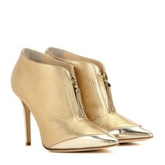 Jimmy Choo Tessa 100 Metallic Leather Ankle Boots ($840) ❤ liked on Polyvore featuring shoes, boots, ankle booties, ankle boots, gold, short boots, leather ankle bootie, genuine leather boots and bootie boots