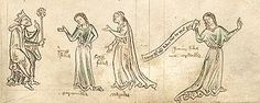 King Leir and Daughters, a marginal illustration in the Northumberland Bestiary, c.1250