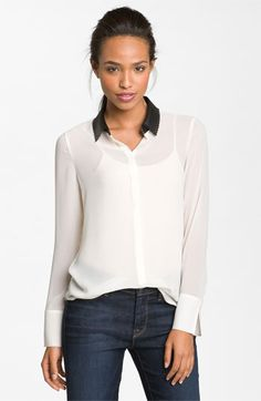 Leather collar blouse - plan to DIY with black leather trim on black silk blouse.