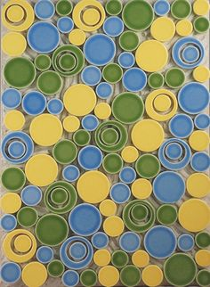 Bedford Concept 12 - Bubbles in Salior, Daffodil and Rainforest. Ceramic Tile from Country Floors Bedford Collection.