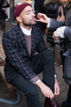 Behind the scenes menswear shoot for AIDA Shoreditch AW13. On location at Spitalfields market, East London.