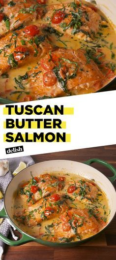 Tuscan Butter Salmon is the impressive dinner that's actually SO easy. Get the recipe at Delish.com. #recipe #easyrecipe #salmon #dinner #easydinner #seafood #italian #italianfood #tomatoes #spinach #butter #cream #cheese #parmesan #basil