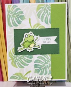 This is a free set that can be earned with a order. DSP is from the main catalog. hoppy together Arts And Crafts, Paper Crafts, Cool Cards, Baby Cards, Frogs, Stampin Up, Card Ideas, Birthday Cards, Card Making