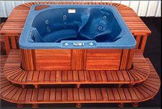 Spa surrounds, redwood spa surrounds, hot tub surrounds, custom made, Par Pool & Spa
