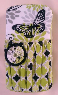 Lime Green and Black with Butterfly Decorated  Diaper Wipes Case. - pinned by pin4etsy.com
