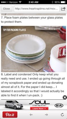 packing paper plates between plates- uses less newspaper :)