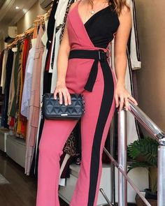 Contrast Color Spaghetti Strap Jumpsuits - Jumpsuits and Romper Trend Fashion, Fashion Outfits, Latest Fashion, Style Fashion, Fashion Clothes, Vetement Fashion, Jumpsuit With Sleeves, Mesh Jumpsuit, Jeans Jumpsuit