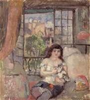 Femme au chat a sa toilette par Hermine David