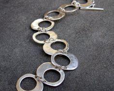 Sterling Silver Bracelet Hammered Link Bracelet by lsueszabo