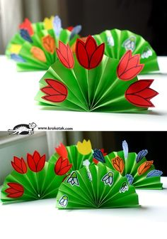 Paper Tulips on 3D Green Paper Fan