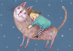 Dream come True / Original Illustration / Cute cat / Hugging cute animals / Dark blue background / Small child. via Etsy.