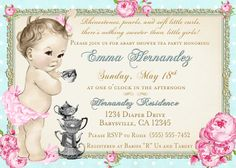 Baby Shower Tea Party Invitation Shabby Chic Floral by jjMcBean