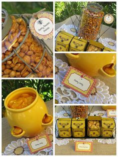 honey roasted peanuts and honey teddy bears what an idea to incorporate with a winnie pooh themed shower :-)