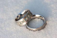 Silver blue diamond wedding bands