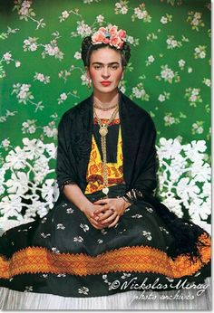 Frida Kahlo de Rivera (Spanish pronunciation: [ˈfɾiða ˈkalo]; July 6, 1907 – July 13, 1954), born Magdalena Carmen Frida Kahlo y Calderón, was a Mexican painter, who mostly painted self-portraits. Inspired by Mexican popular culture, she employed a naïve folk art style to explore questions of identity, postcolonialism, gender, class, and race in Mexican society.