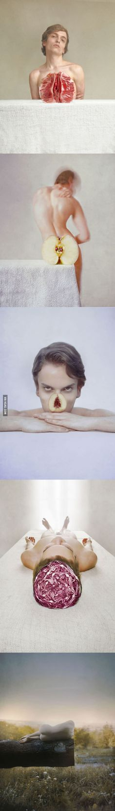 """Métaphores"", series of photos using forced perspective & fruits to create optical illusions"
