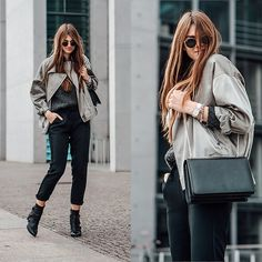 Get this look: http://lb.nu/look/8937850  More looks by Jacky: http://lb.nu/whaelse  Items in this look:  Ray Ban Sunglasses, Missguided Jacket, Reserved Pants   #casual #minimal #street #oversized #winter #satin #whaelse #modeblog #fashionblog