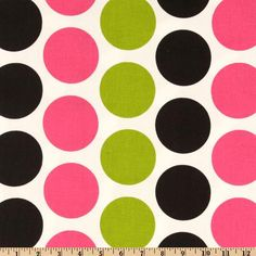 Premier Prints Fancy Dot Candy Pink/Black from @fabricdotcom  Screen printed on cotton duck; this versatile medium weight fabric is perfect for window accents (draperies, valances, curtains and swags), accent pillows, duvet covers and upholstery. Create handbags, tote bags, aprons and more. *Use cold water and mild detergent (Woolite). Drying is NOT recommended - Air Dry Only - Do not Dry Clean. Colors include candy pink, black, chartreuse and white.