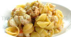 Orecchiette con scampi, bottarga di tonno e polvere di pistacchi, al profumo di aglio e limone