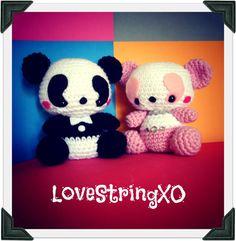 Couple Panda Crochet Plush Doll / Handmade Gift for Valentine / Couples Gift. $90.00, via Etsy.