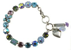 "Mariana ""Diana"" Silver Plated Swarovski Crystal Fairy Wings Tennis Bracelet with Heart"