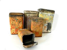French canister Lusticru metal rusty shabby chic farmhouse 5 piece set