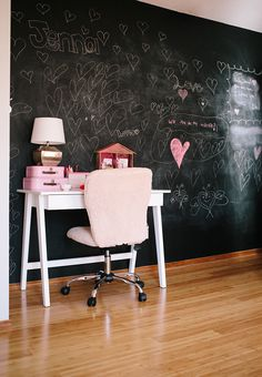 Girls bedroom with modern desk and chalkboard wall - including resources for where to buy.