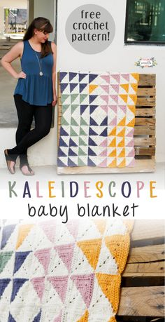 Know a friend or relative that's about to have a baby? This is the perfect gift to them! The colors can be easily adjusted too! #crochetblanket #diy #babyblanket #beginner #sewrella #howto #freepattern #crochet