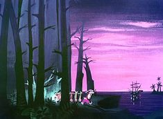 Mary Blair style color concept painting for Peter Pan. Vintage Disney Art, Art Disney, Disney Concept Art, Mary Blair, Glenn Arthur, Animation Disney, Peter Pan Disney, Film D'animation, Disney Dream