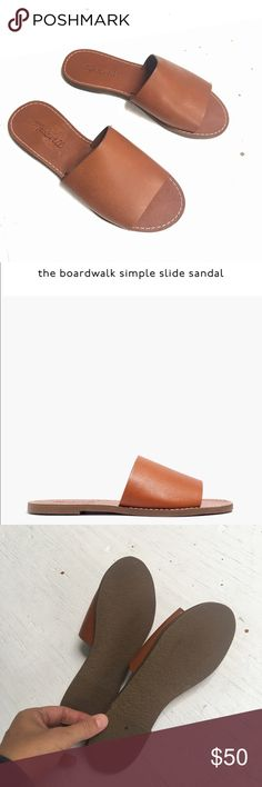 Madewell NWOT boardwalk simple slide sandal Brand new, never worn leather slip on sandals from Madewell. Simple and sleek, get them now for next summer! Madewell Shoes Sandals