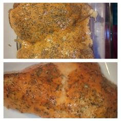 Thousand island chicken.....place chicken in casserole dish and preheat oven to 350....sprinkle garlic powder on top of chicken then cover with thousand island dressing.....sprinkle on some italian seasoning then bake at 350 for 25 to 35 minutes! Enjoy!