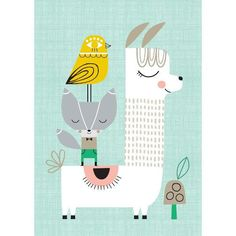 Poster Lama and Friends in soft tones on a linnen look ground, perfect for a nursery or a kidsroom. The poster is illustrated by Suzy Ultman. sized poster Size: x Alpacas, Friends Poster, Kids Prints, Cute Illustration, Suzy, Cute Art, Art For Kids, Kids Room, Creations