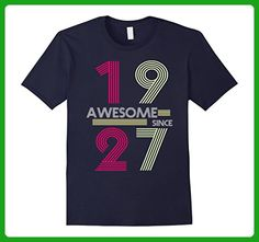 Mens Awesome Since 1927 - 90 Years Old 90th Birthday Gift T-Shirt Large Navy - Birthday shirts (*Amazon Partner-Link)