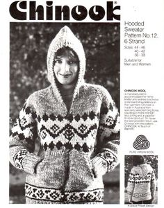 "Chinook White Buffalo Wool Cowichan Sweater with Hood Knitting Pattern 12 - PDF- plus Bonus ""Design Cowichan Sweater, Hooded Sweater, Sweater Coats, Sweater Knitting Patterns, Knit Sweaters, Hat Patterns, Knitting Projects, Knitting Ideas, Crochet Projects"
