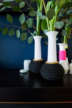 Modern Milk Vase DIY using rope + wire