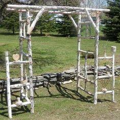 Garden Design Jardines Chuppah- Wedding Log Arch- Birch Log Kit- Ready to Assemble-Basic Metal Arbor, Wooden Arbor, Building A Pergola, Pergola Plans, Diy Pergola, Pergola Kits, Diy Wedding Arbor, Wedding Chuppah, Rustic Wedding