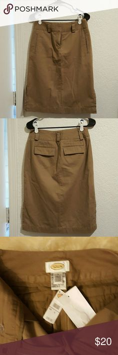 NWT  sz 4 perfect dress skirt NWT fantastic sz 4 tan  Talbots skirt perfect for the office, a night out, brunch etc  pet free non smoking home  ( light wrinkles bc it's been folded up in my closet)   OBO Talbots Skirts Midi