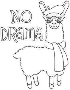 Kids Printable Coloring Pages, Easy Coloring Pages, Coloring Pages For Kids, Coloring Books, Llama Drawing, No Drama, Easy Drawings, Embroidery Patterns, Creations
