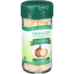 Frontier Herb Onion - Flakes - White - 1.76 oz - The distinctly strong taste of onion is indispensable in the kitchen. Its warm, sweet and salty flavor shines in most savory dishes. It comes in several convenient dried forms: flakes, granules, powder and slices. Botanical Name: Allium cepa Suggested Uses: 1 pound of dried onion is equal to 9 pounds of fresh onion.Product Notes: A convenient dried onion for use in dressings, sauces, soups, stir-fries and dips. Onion flakes can be substituted…