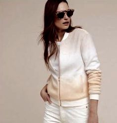 NWT Anthropologie Paper Crown ivory pale yellow pink Fuzzy Ombre Bomber Jacket M #PaperCrown #ombrejacket