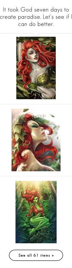 """""""It took God seven days to create paradise. Let's see if I can do better."""" by nika-love ❤ liked on Polyvore featuring art, accessories, backgrounds, comics, dc, pictures, anime, halloween, jackets and tops"""