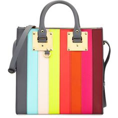 Sophie Hulme Albion Square Tote Bag ($975) ❤ liked on Polyvore featuring bags, handbags, tote bags, rainbow, striped tote, leather tote purse, tote purses, leather tote bags and leather handbags