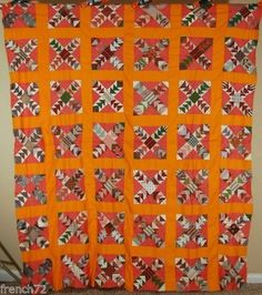 Vintage-1860s-Cheddar-Flying-Geese-Antique-Quilt-Top-AMAZING-EARLY-FABRICS