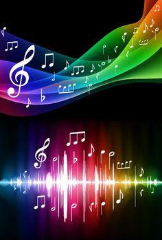 The Most Beautiful colors in the world with Music notes on them the flow of the music is smooth