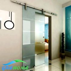 6.6FT granero puertas corredizas de vidrio de hardware