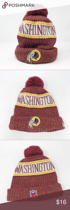 New Era NFL | Washington Redskins Beanie L-286-1 New Era NFL | Washington Redskins Beanie w Pom Pom  Size: One size fits most adults Features: New Era official NFL gear Washington Redskins  Red and yellow  Redskins logo on the front, NFL logo on the back  Gray fleece lining One time removable pom pom if you just want it to be a beanie!  Condition: preowned, excellent used condition SKU: L-286-1 New Era Accessories Hats