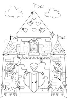Fairytale Sparkly Castle and Princess Characters to Color In. royalty-free stock vector art