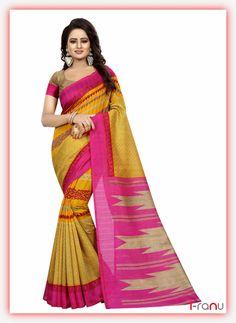 Seema yellow bhagalpuri partywear saree Art Silk Sarees, Sari, India, Yellow, Casual, How To Wear, Shopping, Women, Fashion