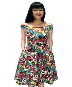 Arrive in Skulls Day Of The Dead Multicolor Skull Dress  sizes Small-3X